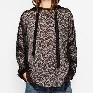 NWOT Zara lace hoodie